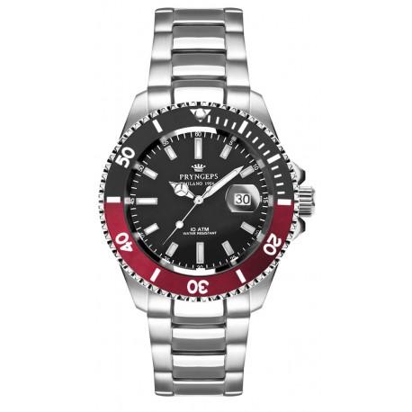 Orologio Pryngeps da uomo da donna tipo Rolex, Submariner, rosso nero