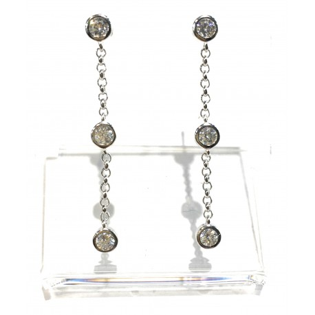 orecchini da donna argento 925 rodiato pendenti catena con punti luce swarovski