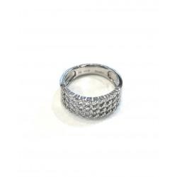 Anello da donna fascia in oro 750 bianco 18 kt con diamanti brillanti garanzia