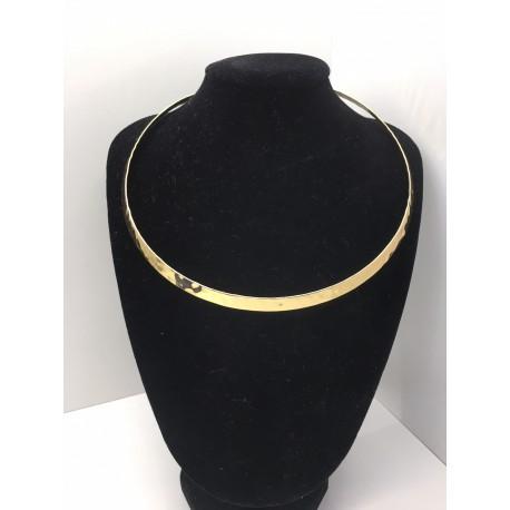 collana girocollo Etrusca da donna rigido lega bronzo placcato oro 18 kt lucida