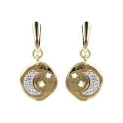 Orecchini donna Etrusca gioielli bronzo placcati oro 18 kt luna pietre bianche