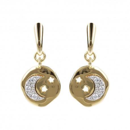 Orecchini donna Etrusca gioielli bronzo placcati oro 18 kt stella pietre bianche