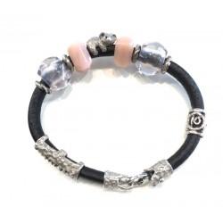 bracciale donna pelle argento 925 vintage quarzo rosa orso panda fatto a mano