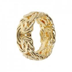 Anello Etrusca fascia da donna bronzo placcato oro giallo18 kt bizantina mis 14
