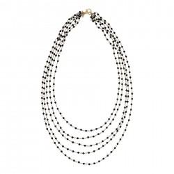 Collana donna lunga Etrusca gioielli 5 fili bronzo placcato oro 18 kt spinello