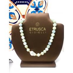 Collana girocollo Etrusca donna bronzo placcato 18 kt acquamarina perla naturale