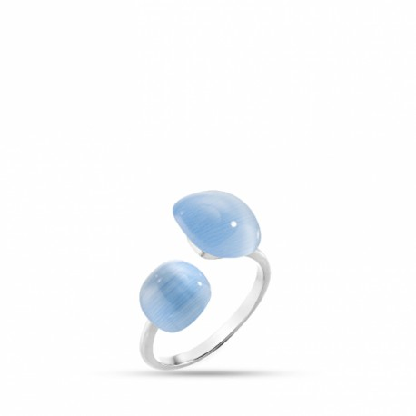 ANELLO GEMMA in ARGENTO 925%, CRISTALLO CAT EYE - SAKK16014