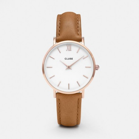 Cluse Minuit CLUCL30021 Rose Gold White Caramel